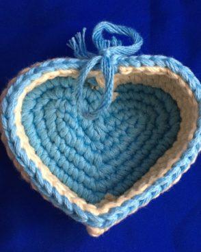 Vide-Poche Cœur bleu et blanc