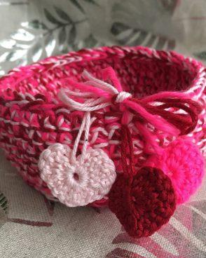 Vide-Poche rond rose et rouge à petits cœurs